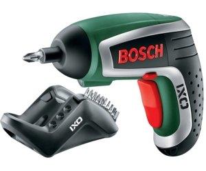 Bosch Mini Akkuschrauber IXO Set 4. Generation, Winkelaufsatz, Exzenteraufsatz, 10 Schrauberbits, Ladegerät, Metalldose (3,6 V, 1,5 Ah)