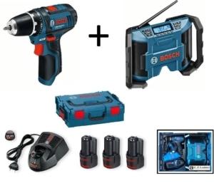 Bosch Akkuschrauber Set mit Bosch Radio 10,8 Volt Ersatzakkus Ladegerät Koffer