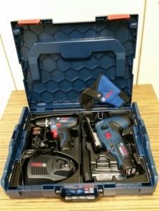 Bosch Professional Set 10,8 V Akku-Bohrschrauber GSR 10,8-2-Li Prof. + Akku-Stichsäge GST 10,8 V-Li Prof. inkl. 3x Akku 2,0 Ah und Ladegerät in L-Boxx