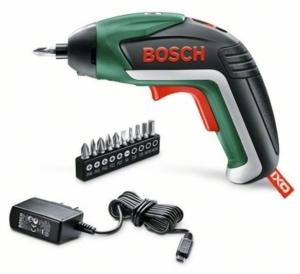 Bosch IXO Mini Akkuschrauber 3,6 V / 1,5 Ah DIY Set 5. Generation, Winkelaufsatz, Exzenteraufsatz, 10 Schrauberbits, USB-Ladegerät, Metalldose