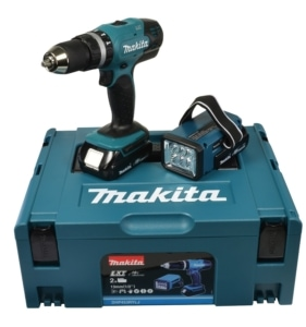 Makita Akkuschrauber 18V / 1,5 Ah inklusive Akku-Lampe, DHP453RYLJ