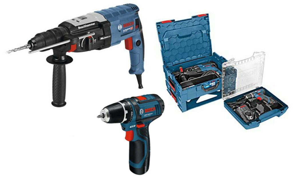 Bosch Professional Bohrhammer + Akku-Bohrschrauber Set Elektrobohrmaschine Schra
