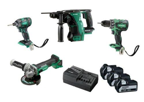 Hikoki Hitachi Akkuschrauber und Bohrhammer Set Winkelschleifer Akku Schlagschrauber und Bohrschrauber